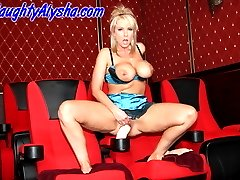 Smokin hot Alysha stretches her pussy in a theater