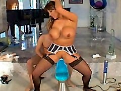 Asian babe impaled on a giant lava lamp in her sphincter