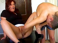 Buxom mature slut fist fucked by a pitiless young stud