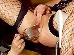Slave girl brutally double fist fucked