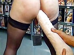 Bizarre pierced whore gets her ass destroyed by a giant dildo