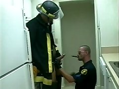 Bear firemen doing a fast and kinky quickie dick sucking session