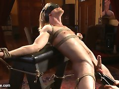 Laid back California boy Zach Clemens wants to try something new, so we bring him in for an edging session up in the dining room. A rope harness tied over his chest, arms secured to a saw horse, Zach is under our control as we bring him close -- so close -- to orgasm again and again. He trembles in bondage and begs to cum while we jack his raging boner with a vibrating cock sleeve. Next, we strap him down to a dinner table and worship his feet and pits. All the while, Zach's orgasm remains beyond his reach and under our command. We teach Zach where his prostate is and the pleasure that comes from having it milked. Finally the straight hunk is allowed to blow his load before having his cock head tormented and his vulnerable body tickled.