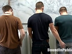 Hot stud Connor Patricks has his girlfriend wait in the hallway while he goes to the bathroom really quick.  Connor has to go so bad that he runs to the urinal not even noticing the bathroom is a big cruising spot full of horny men.  Just as he finishes taking a piss, he notices the two guys next to him playing with their cocks and staring at his own.  Connor flips and spits in one of the guys' faces.  Before he knows it Connor is wrestled to the ground and his clothes torn off.  The straight prude has his cock edged and his ass fucked hard while being made to suck every cock.  Connor begs for mercy but all he gets are hot loads of cum all over his face and body before being dragged off to the urinal, where the fun has only begun.