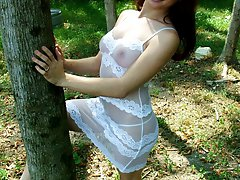 Nasty brunette exgirlfriend Hannah stripping and flashing her big breasts in the woods