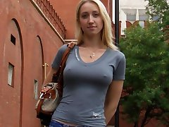 Chick flashes breasts and cunt in public