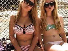 Hot babes flaunt their bikini bodies outdoors