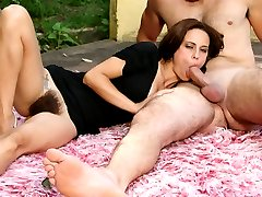 Slutty lady Leslie gives a sinful blowjob and rides a cock with her natural hairy pussy in the...