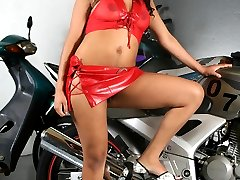 Nasty lady Ticiany got her hairy pussy fucked by her biker lover after giving his cock a sexy...