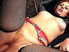 Hottie with hairy cunt stuffed banged hard