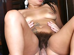 Tattooed lady Aline gives a dick a throatfuck and got natural hairy pussy slurped and fucked