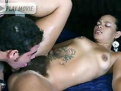 Inked lady Aline stuffs her mouth over a big wang and later got her hairy natural slit pummeled