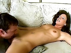 Lusty chick enjoying a wet licking in her furry pussy