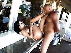 Charming brunette Nicole Paris gets pink pussy smashed by a black dude