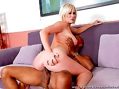 Blond chick gets into some interracial fun with a black stud