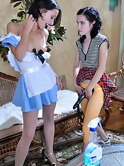 Young mistress seduces her tasty maid into a lesbo strapon-fucking session
