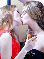 Tipsy party babes with playful tongues launch into girl-on-girl making out