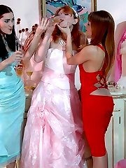 Hot babes in silky pantyhose having freaky pleasure at the wedding ceremony