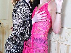 Gorgeous lipstick lesbians lick and stuff their wet slits through pantyhose