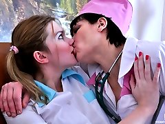 Old doc seduces a pretty young nurse plunging her tongue into hot wet holes