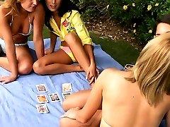 Four gorgeous teens in garden orgy