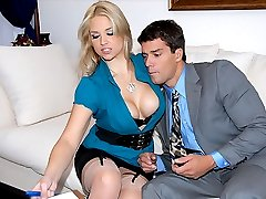 Amazing big tits hot ass babe madison gets her business skirt pussy fucked hard in the office in...