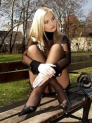 A pantyhosed wife in upskirt gall