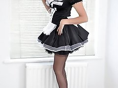 Nylon Jane will be your private maid, but she has her own requests when it comes to what to wear! She has a exclusive nylon maid clothing that is ended off purrfectly with a pair of dark-hued totally fashioned nylon stockings