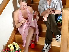 Towheaded in evening gown and luxury hose luring her neighbor into nylon fuck-fest