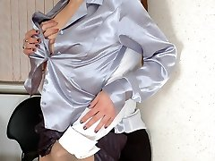 Lewd babes getting caught while toying kinky nylon games right in office