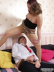 Upskirt chick teasing her hot neighbor while flashing her shiny pantyhose