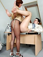 Nasty secretary in black hose getting to facesitting punishing disloyal guy