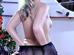 Hot-assed babe impaled on a boner through her black FF crotchless pantyhose