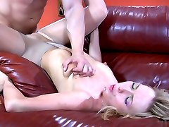 Leggy blonde in control top tights challenged to take on a big studly boner