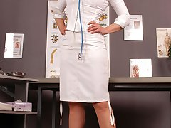 Dr. Angel in xxl skinned colored stockings with seams