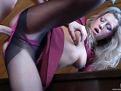 Babe getting screwed by a nylon addicted dude in her black control top hose