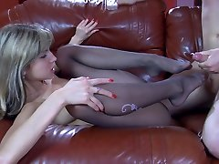 Yummy girl gets her tasty nyloned feet licked for a footjob and pussy poke