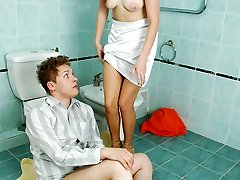 Slutty nymph in sexy hose punishing mischievous boy with facesitting for spying