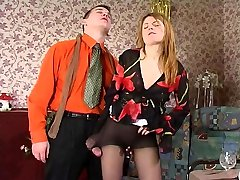 Passionate babe seduces a stud with newly bought stocking before hot pantyhosejob