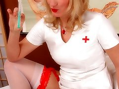 Peggy the hot nurse in white pantyhose