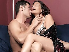 Pretty COUGAR Ava unleashes her set of huge fun bags then fucked deep and on the couch