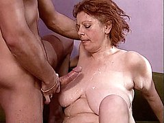 Hot grandma Stella gets her tits cumsprayed after this granny gave a sexy tit fuck