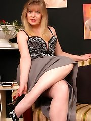 Angel in grey barefeet stockings