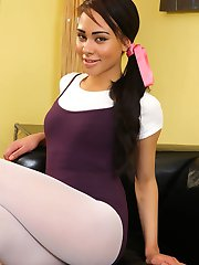 Dusky beauty Alexa in ballet outfit and white pantyhose