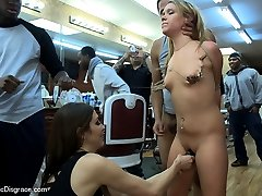 Shani Ried is handcuffed and presented to a gang of men at a barbershop. Her Ass is spanked...
