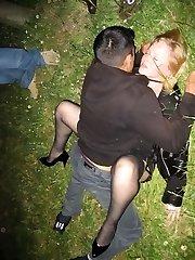Hardcore couples enjoying red-hot orgy in public