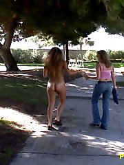 Walking around the public park in the nude