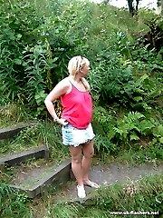 Blonde amateur nude in public