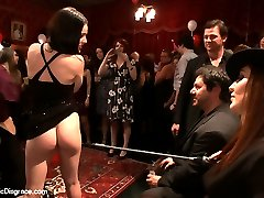 ALL HAIL PRINCESS DONNA!! It's her birthday and she is out to test the perverted loyalties of her subjects with her favorite and most brutal electric toy, the CATTLE PROD. Simone Sonay and Syren de Mer are caged, fondled, fucked, and DISGRACED by an eager crowd of her highness's party attendees.  Guests line up and beg Princess Donna to bless them with a jolt of her majesty's sadistic tool of torture. Maitresse Madeline and Zander appear to entertain the crowd and keep the slaves in line!! A good game of SWITCH! commences as Syren and Simone are turned against each other and challenged as to who has the toughest wired pussy. SHOCKED TAINTS, DILDOS ON STICKS, CAGED FONDLED WOMEN, AN EAGER AUDIENCE, DEEP THROATING, SPANKING, FLOGGING, and ELECTRO PLAY. What more could a princess wish for on her birthday? oh yeah, a birthday song sung by two SLUTBAGS with their mouths full of COCK!!!HAPPY BIRTHDAY PRINCESS!