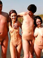 Beauty nudist babe flashing her body in public.
